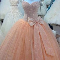 Modern Real Spaghetti Straps Peach Quinceanera Dresses vestidos para quinceaneras 2019 Beading Bow 15 Years Dress Ball Gown Prom