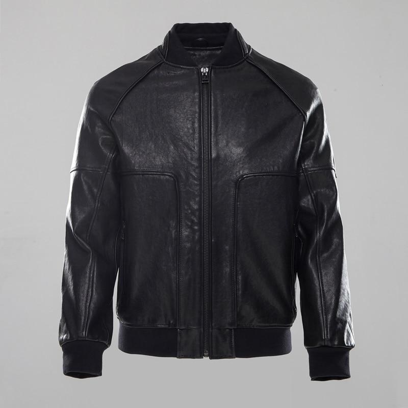 Factory 2018 Men's Genuine Leather Jacket Vegetable tanning black Sheepskin Short Bomber Motorcycle Biker Jackets Winter Coats