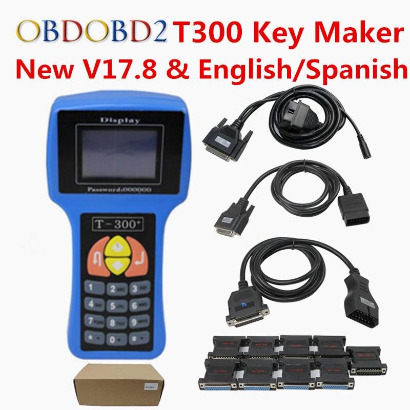 DHL Бесплатная T300 Auto Key Программист T-300 V17.8 английский/испанский дополнительно Т 300 Auto Key транспондера T300 для Электронный управляющий блок иммо...