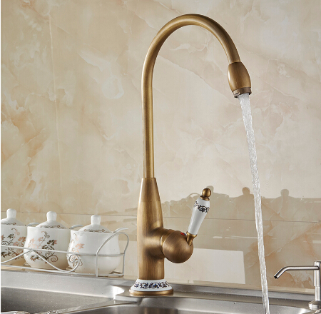 Free shipping new style antique brass finish faucet kitchen faucet 40 cm tall sink bathroom basin