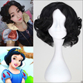 bjc 00014 New Short Black Curly Synthetic Disney Princess Snow White Wig Cosplay Anime Wig