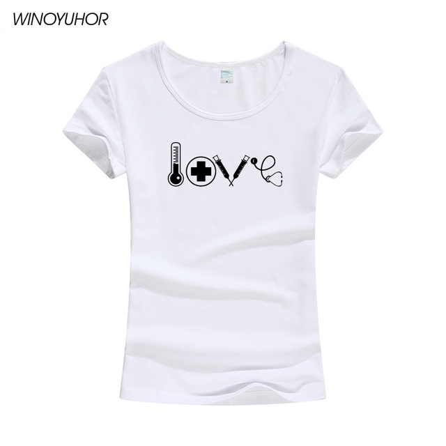 af513758a26a4 2018 Newest Summer Women's T-shirt Love Nurse Gift T-Shirt Novelty Design Short  Sleeve Cute Girl Doctor Medical Tops