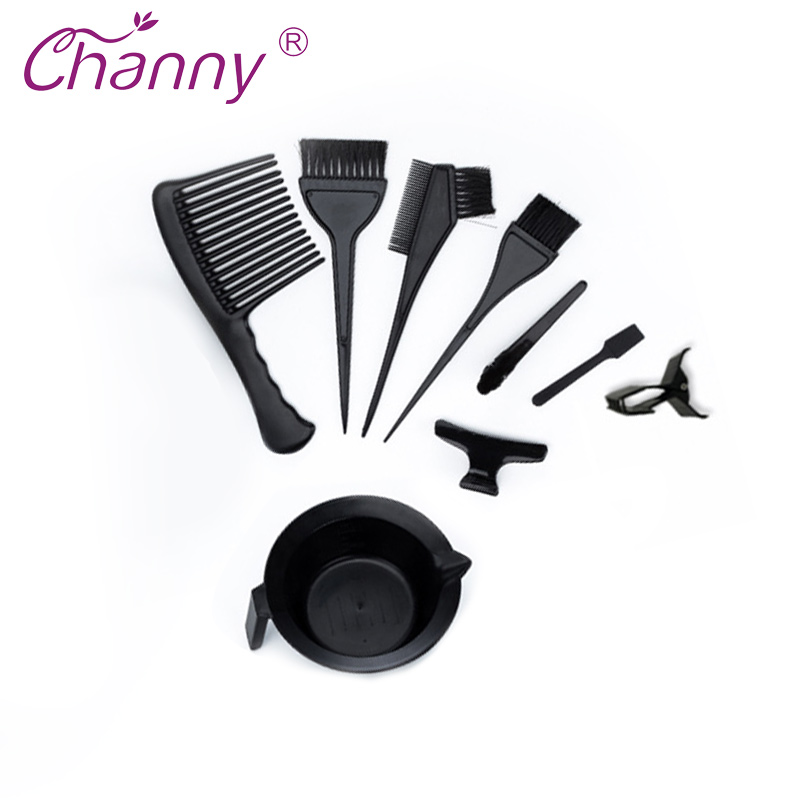 Channy 9Pcs/Set Portable New Hairdressing Salon Home Hair Color Brushes Bowl Combo Dye Tint Tool Kit Beauty Makeup Styling ToolsChanny 9Pcs/Set Portable New Hairdressing Salon Home Hair Color Brushes Bowl Combo Dye Tint Tool Kit Beauty Makeup Styling Tools