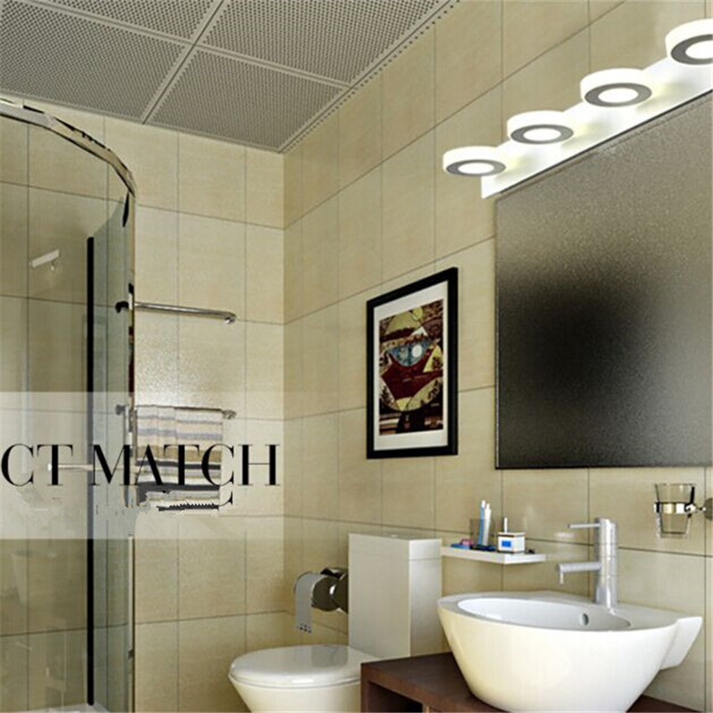 ФОТО Free EMS- Bathroom Led Mirror Light 800813,Warm White/White Color,AC100-240V 12W Length 60cm 4 Heads Frosted Acrylic Wall Lamps