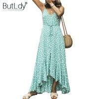 Polka Dot Strap Long Asymmetrical Dress Women Ruffle Summer Dress 2019 Off Shoulder Backless Casual Bohemian Maxi Beach Dress
