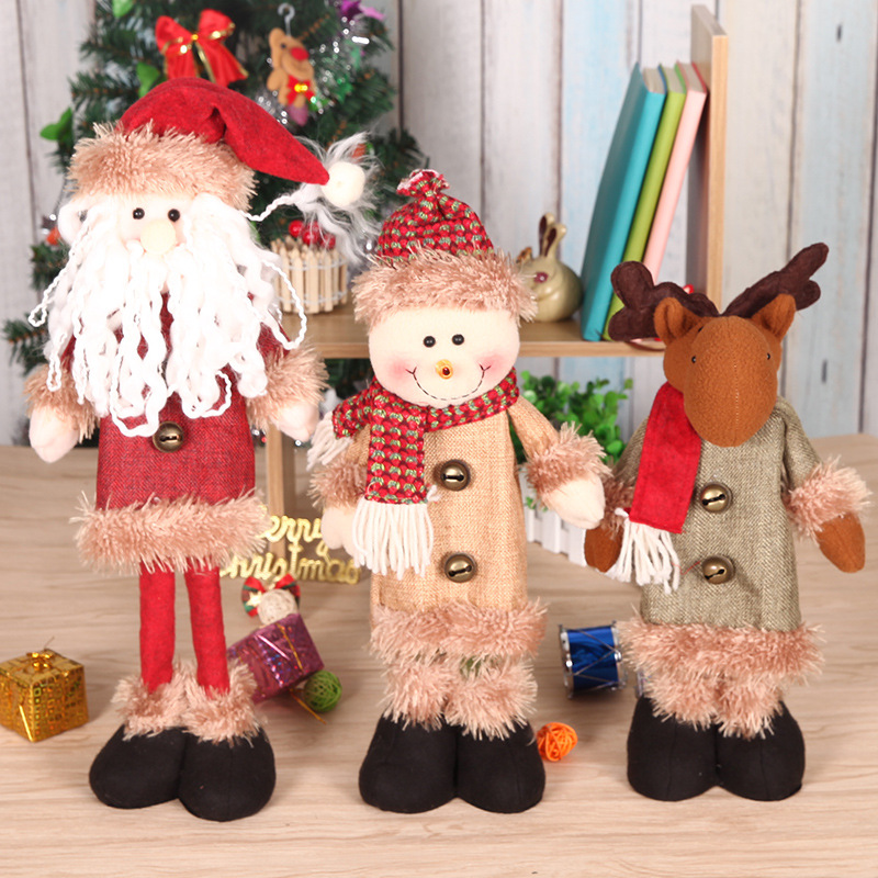 2019 Hot Selling Newest Christmas Decorations Standing Telescopic Santa Snowman Furnishings Cartoon Cloth Christmas Doll