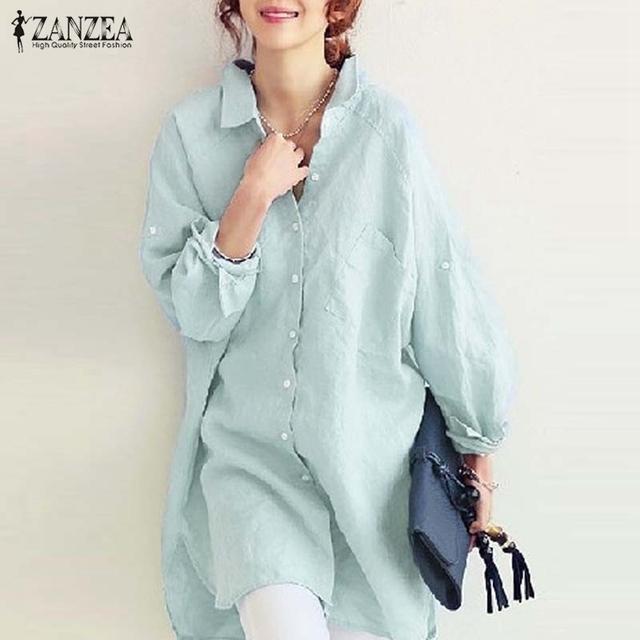 Lazer Camisas de Linho De Manga Comprida de Algodão 2017 Primavera Outono Das Mulheres Botão Blusa Tops Blusas Casual Soltas Sólidos EUA Plus Size 4-24