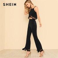 SHEIN Plain Tassel Hem Crop Top Flare Pants Set 2018 Women Black Spaghetti Strap Sleeveless Asymmetrical