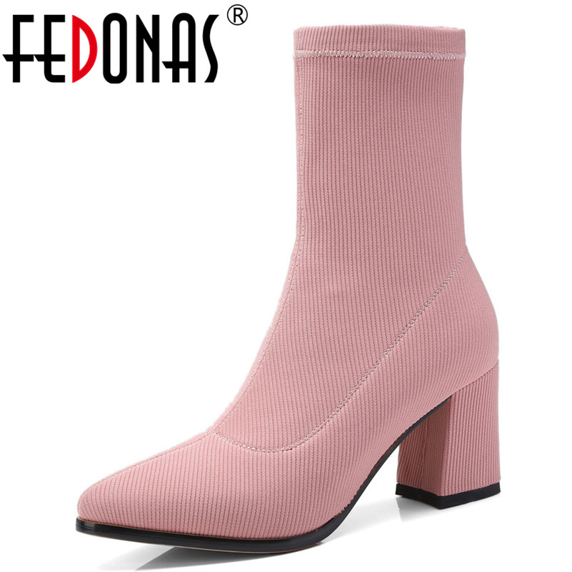 FEDONAS New Women Mid-calf Socks Boots High Heels Autumn Stretch High Boots Ladies Night Club Party Shoes Woman High Basic Boots ombre circle calf length socks