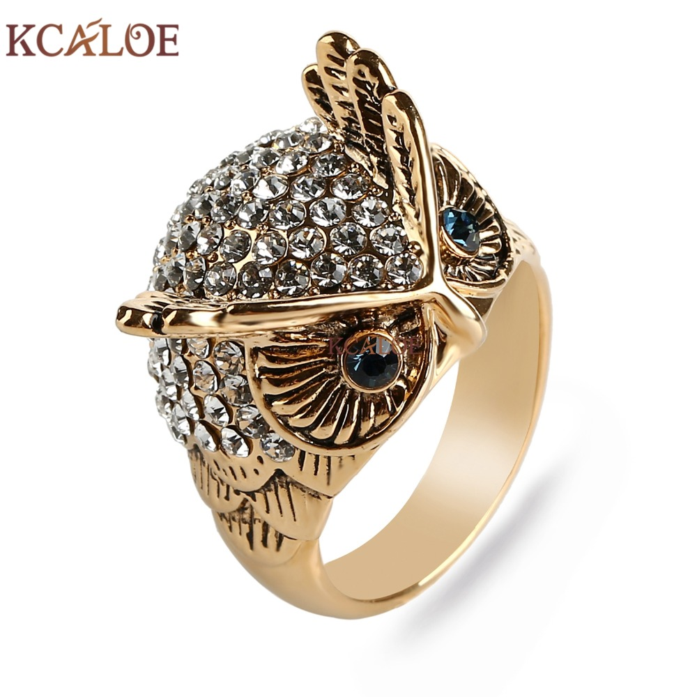 Kcaloe Big Owl Ring Titanium Gold And Silver Plated Crystal Rhinestone Fine  Jewelry Cute Animal Rings