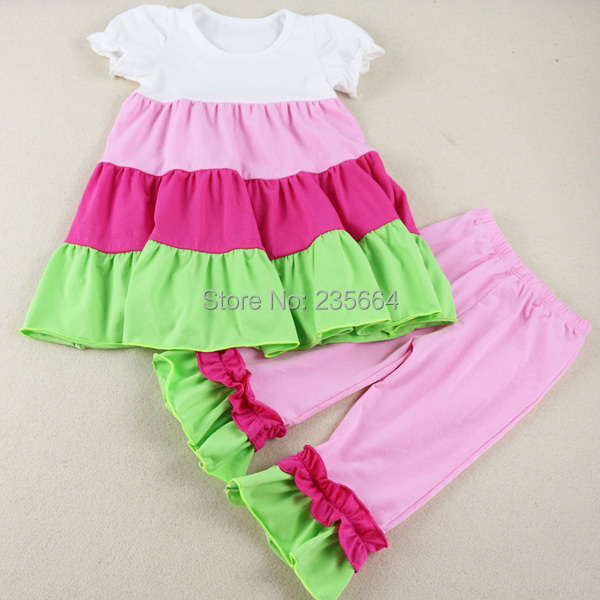 Wennikids Summer Spring Children Girl Clothing Short Sleeve Set Ruffle Cute 2pcs Clothes Kids T Shirt+pants Legging Free Ship family fashion summer tops 2015 clothers short sleeve t shirt stripe navy style shirt clothes for mother dad and children