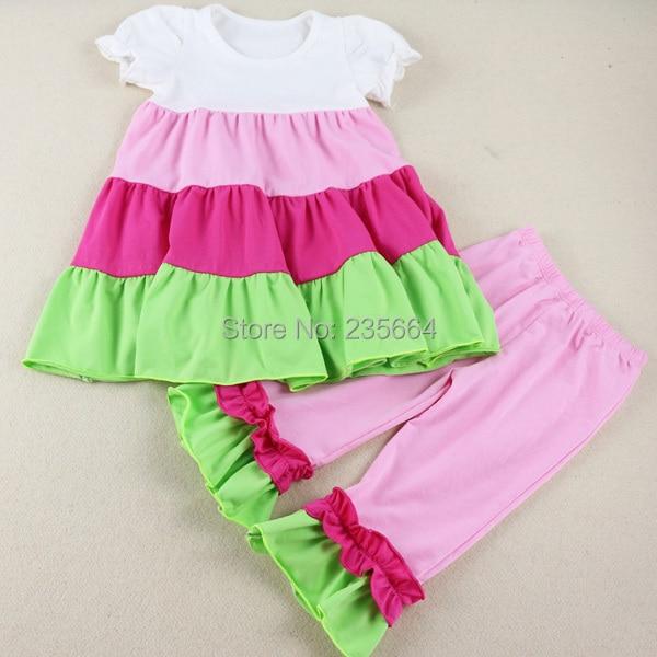 Wennikids Summer Spring Children Girl Clothing Short Sleeve Set Ruffle Cute 2pcs Clothes Kids T Shirt+pants Legging Free Ship