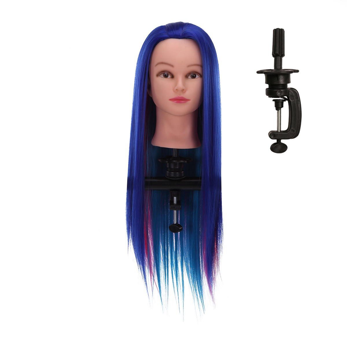 70cm Mixing Color Hair Training Mannequin Head with Clamp Stand Holder for Barbel Shop Pro Hairdressing Styling Tool Accessories