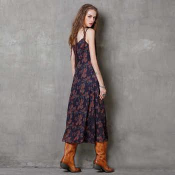 2017ฤดูร้อนdress yuzi.อาจผ้าฝ้ายผ้าลินินvestidos a-lineเอวสูงปาเก็ตตี้สายคล้องดอกไม้พิมพ์ผู้หญิงชุดa8151 vestido