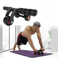 4 Wheels Power Wheel Triple AB Roller Abdominal Abs Workout Fitness Machine Gym Knee Pad Stretch Abdominal Resistance Rope Tool