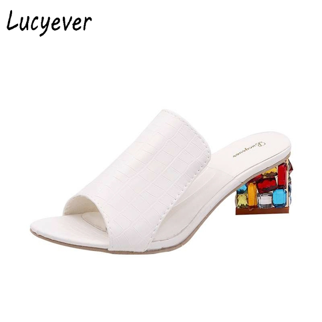 Lucyever Fashion Rhinestone Thick Heels Slipper Sexy Women Peep Toe High Heel Sandals Leisure Party Flip Flops Sweet Shoes Woman