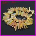 Rough Citrine Titanium Quartz Spike Pendant Beads Natural Raw Druzy Agate Crystal Quartz Point Stick Drilled Briolettes Beads