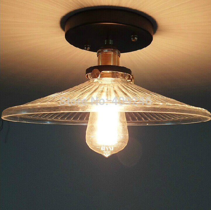 Loft Edison Industrial Vintage Umbrella Clear Glass Ceiling Lights Lamp for Cafe Shop Aisle Hall Bedroom Club Balcony Indoor loft edison vintage retro cystal glass black iron light ceiling lamp cafe dining bar hotel club coffe shop store restaurant