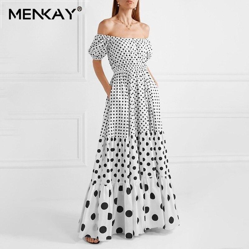[MENKAY] Polka Dot Off épaule femmes robe Slash cou bouffée manches taille haute Hit couleur Maxi plage robes femme mode été