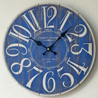 TUDA Free Shipping Blue Digital Wall Clock Vintage Wooden Wall Clock Home Decoration Hanging Clock for Living Room Bedroom