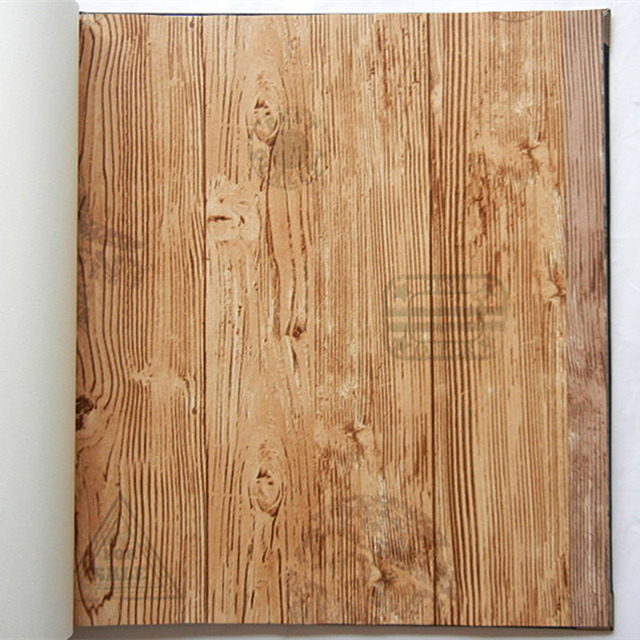 Vintage Wood Grain Wall Paper Roll Grey Brown Yellow 3d