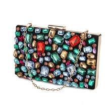 Bolso de mano con dos cadenas para mujer, cartera de mano para boda, noche, con cuentas de diamantes, Gema negra, para hombro, ZD636