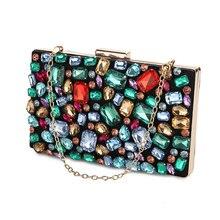 Torebka damska torebka ślubna torby wieczorowe zdobiony paciorkami diamentowymi klejnot kamień czarny portfel damskie torebki na ramię z dwoma łańcuchami ZD636