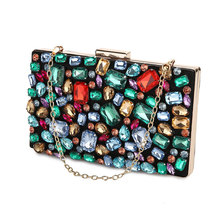 Womens Clutch Bag Wedding Purse Evening Bags Diamond Beaded Gem Stone Black Wallet for Women Shoulder Bags with Two Chain ZD636