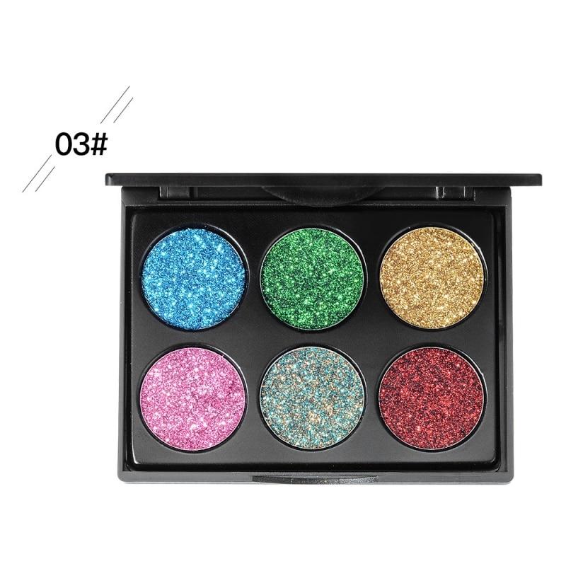 2019 New Fashion 6 Color Luminous Eye Shadow Palette Waterproof Long Lasting Shiny High Gloss Eye Shadow in Eye Shadow from Beauty Health