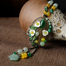 yellow green flowers Fashion nature stones vintage necklace jewelry ,New ethnic necklace Aventurine flowers necklace