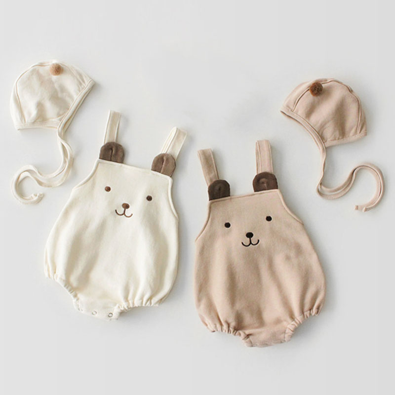2019 Spring Baby Girl Boy   Rompers   Pure Cotton Sleeveless Jumpsuit + Hat Clothes Cartoon Bear   Rompers   Baby Girl Boy Clothes