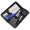 6 In 1 Pro Salon Hairdressing Scissors Comb Set Hair Cutting Barber Kit Thinning Cutting Styling Tools PU Leather Bag Black