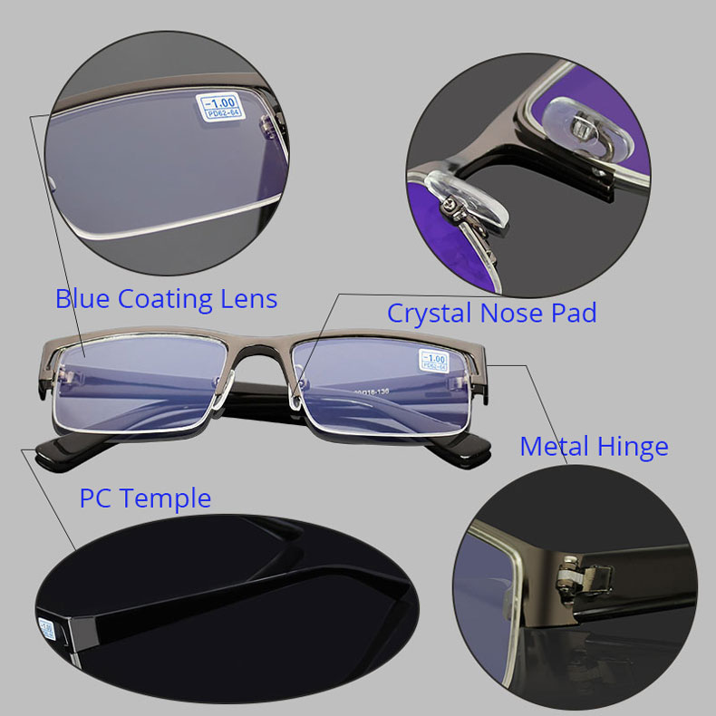 8f21701000 HTB104lhesuYBuNkSmRyq6AA3pXaN Metal Stainless Myopia Glasses Computer Men  Eyeglasses Half Frame Spectacles Anti Blue Ray Eyeglass -