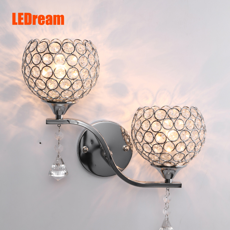ФОТО Antique crystal wall lamp The sitting room corridor of the head of a bed lamp, wrought iron creative LED wall lamp, restaurant