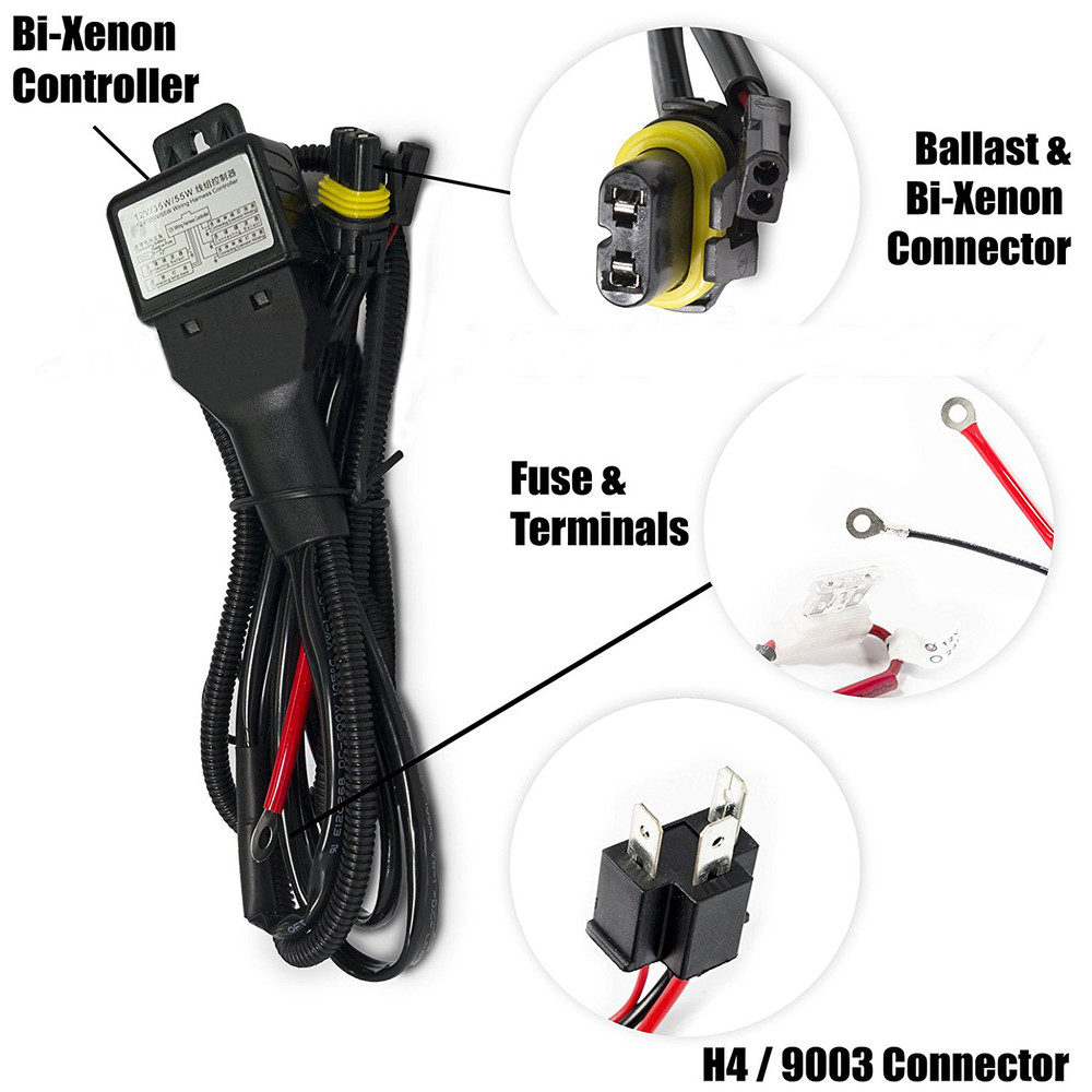 small resolution of 12v 35w hid bixenon h4 wiring harness controller for car auto headlight retrofit connector mini projector lens line car styling