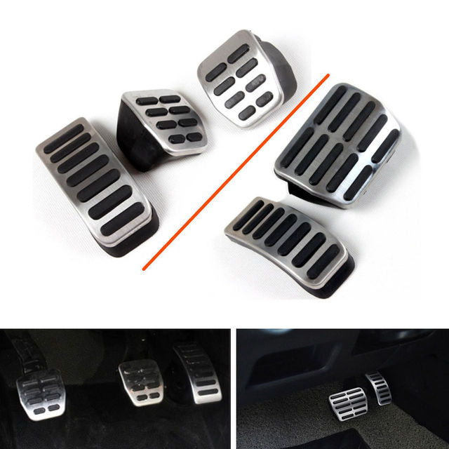New Chrome AT / MT Foot Rest Gas Fuel Brake Pedal Pad Cover for Beetle Cordoba Leon Golf Lupo Toledo Ibiza Cabrio Fox Polo