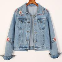 Casual New Flower Embroidery Classic slim Jeans Jacket Women's Spring short Denim Jacket plus size 2XL