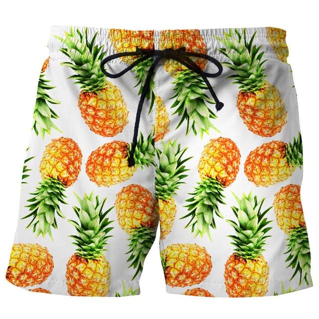 e991e0e0a5 US $11.15 29% OFF|Funny 3D Pineapples Print Men Beach Board Shorts Quick  Dry Bermudas Shorts Polyester Man Pants Boys Male Beachwear EU Size-in  Board ...