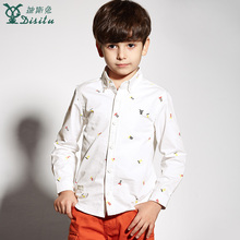 DISITU brand casual shirts for boys printing full sleeve square collar cotton tops 2017new arrivals kids clothes spring clothing