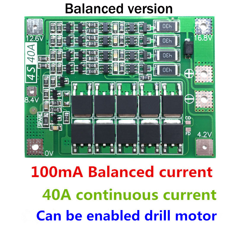 4S 40A Li-ion Lithium Battery Charger Module Protection Board PCB BMS 18650 Lipo Cell Module w/Balancer For Drill Motor(China)