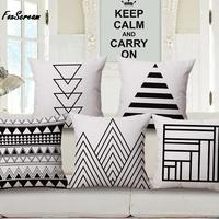 Road Sign Cushion Covers Geometric Mountain Sofa Decor Pillows Covers Minimalistic Black And White Throw Pillows