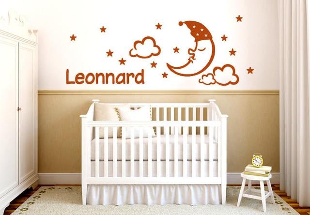 Customized Wall Art aliexpress : buy baby nursery wall stickers a sleeping moon