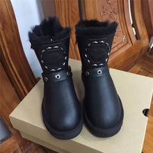 Top quality Luxury brand Women Boots Genuine Leather Fur Shoes Women Winter Warm Boots female wool Snow Boots