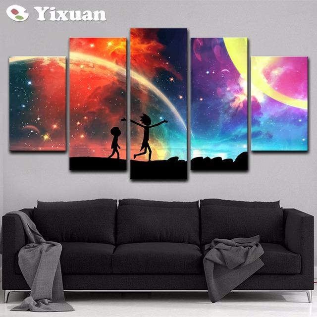5 Panels Canvas Painting rick and morty poster Wall Art Painting Modern Home Decor Picture For Living Room Framework