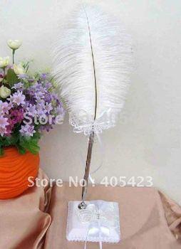 Butterfly Rhinestone ostrich feather pen / brush / pen / wedding supplies