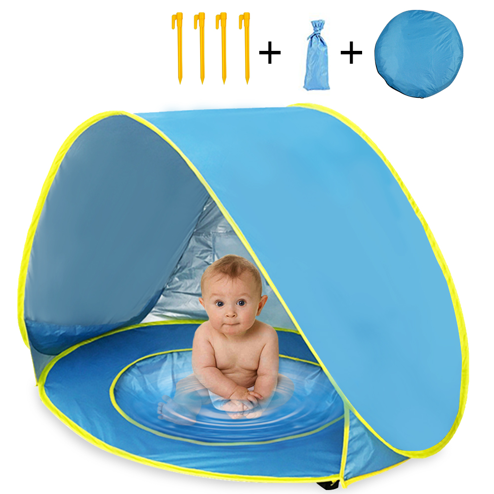 Waterproof Baby Beach Tent UV-Protecting Sunshelter with Pool Pop Up Awning TentKkid Outdoor Camping Sunshade Beach for Children