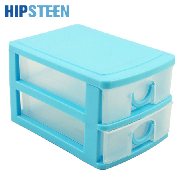 HIPSTEEN Candy Color Two Layers Mini Draw Out Desk Storage Box Container