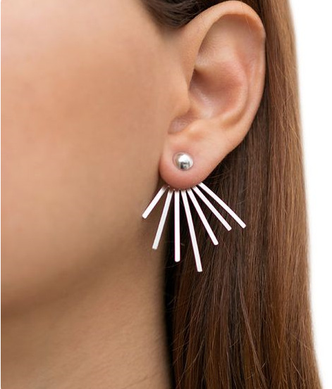 New Simple Personalized Retro Punk Spike Earrings Brand Design Gold Silver Double Side Ear Stud For Women Jewelry In From