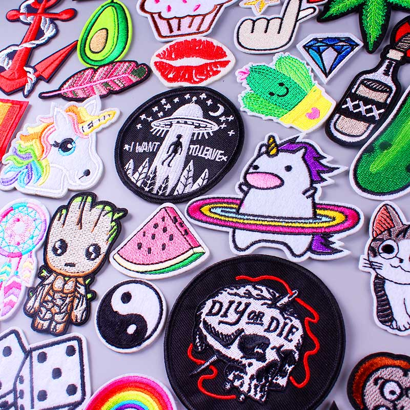 HTB104mue8WD3KVjSZKPq6yp7FXaa Nirvana Maple Leaf Patch Embroidery Patches For Clothing Cute Cat Unicorn Animal Iron On Patches On Clothes Watermelon Sticker