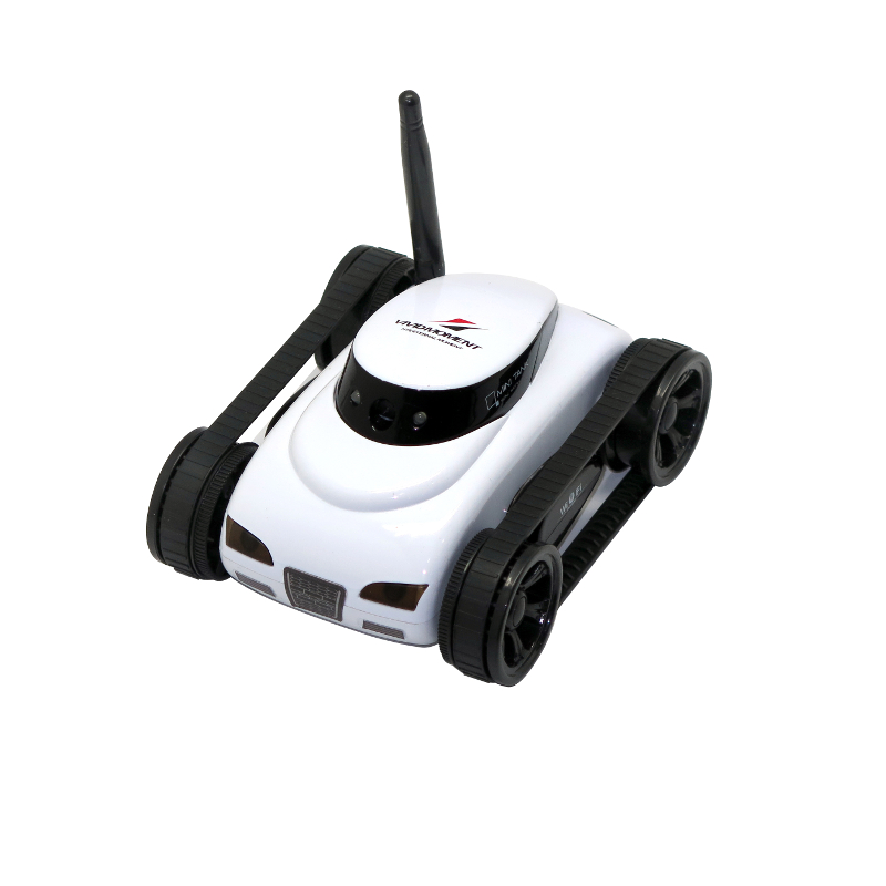 ФОТО Hot Happycow 777-270 WiFi Mini RC Tank Car  with 0.3MP Camera Real-time Transmission App-controlled Wireless Gift  White Gray
